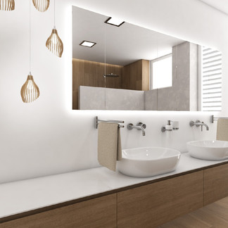 Elegant bathroom with two washbasins | by CADFACE