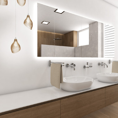 Elegant bathroom with two washbasins | by CADFACE