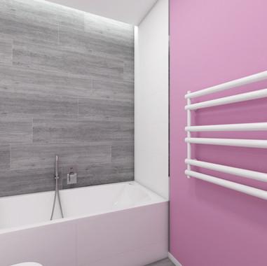 Ružová kúpeľňa pre dve mladé slečny | design CADFACE