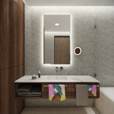En-suite guest bathroom with walnut furniture | by CADFACE
