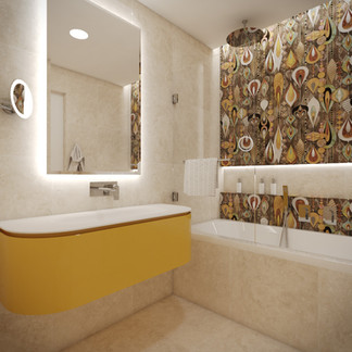 Kids' en-suite bathroom with whimsical wall tiles   by CADFACE