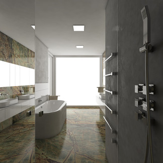 Luxury bathroom cladded with rainforest green marble | by CADFACE