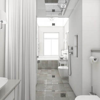 Chic bathroom and toilet separated by a custom steam shower | by CADFACE