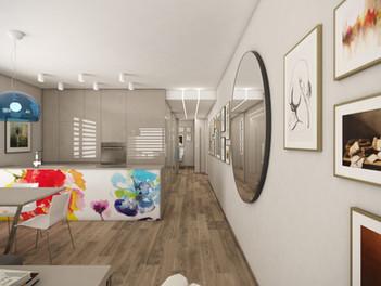 Obývačka spojená s kuchyňou | design CADFACE