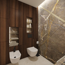 Custom feature wall in a glamorous powder room   by CADFACE
