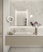 Glamorous powder room with marble cladding   by CADFACE