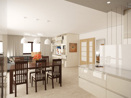 Dining table separates the kitchen from the living room | by CADFACE