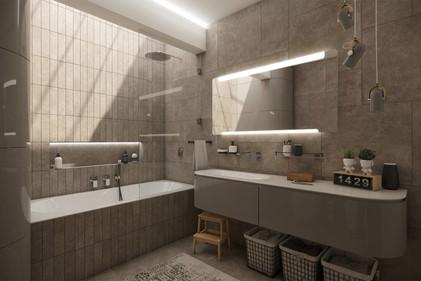 Modern bathrooom with skylight above the bathtub | by CADFACE