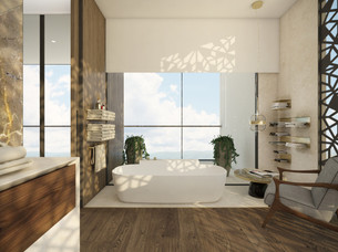 En-suite bathroom with panoramic views   by CADFACE