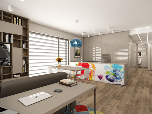 Open-plan living room with kitchen   by CADFACE