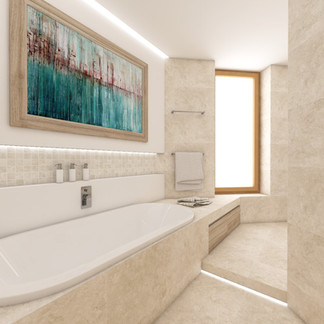 Spa bathroom cladded with natural travertine | by CADFACE