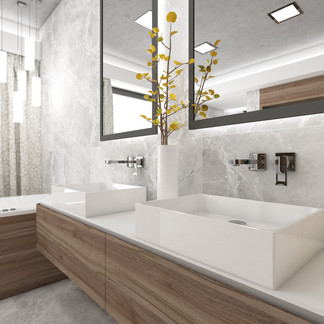 Contemporary bathroom cladded in grey marble | by CADFACE