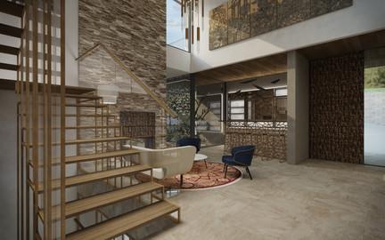 Foyer s barom a vtáčou voliérou | design CADFACE