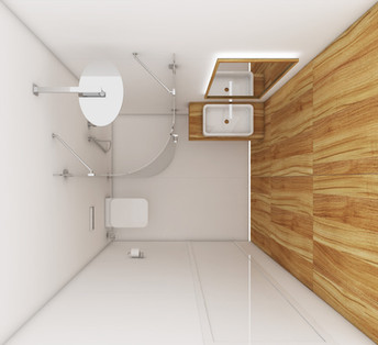 Hosťovská kúpeľňa - dispozícia | design CADFACE