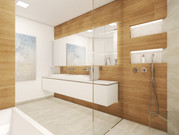 Elegant bathroom with double vanity unit and walk-in shower | by CADFACE