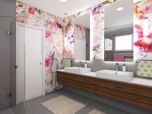 Colourful bathroom for twin sisters | by CADFACE