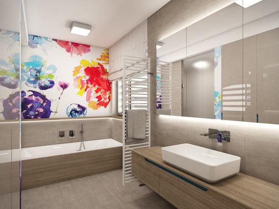 Útulná kúpeľňa oživená tapetou s florálnym dekorom   design CADFACE