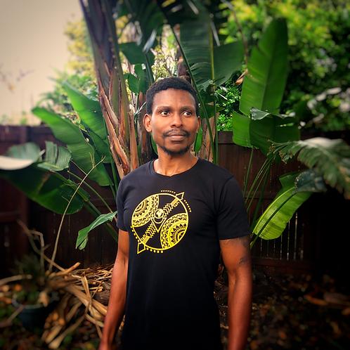 Straight cut tribal shield t-shirt (size details in description)