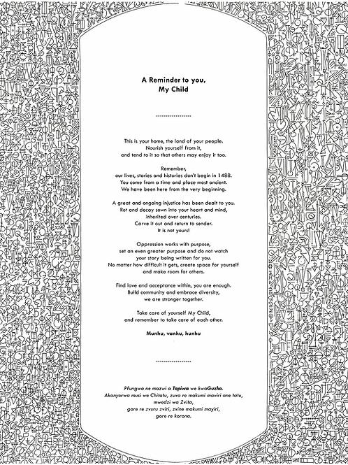 A Reminder - Reprint A2 size