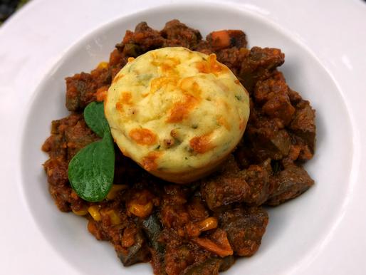Cassava, pumpkin leaf and kapenta savoury muffins