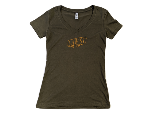 The Palisades Park Collection: Women's Short Sleeve V-Neck Tee Gold Logo