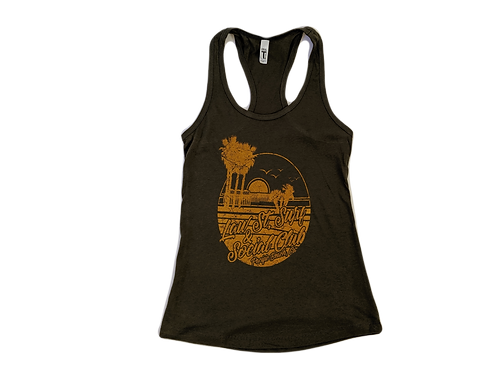 The Palisades Park Collection: Women's Racer Back Tank Gold Logo