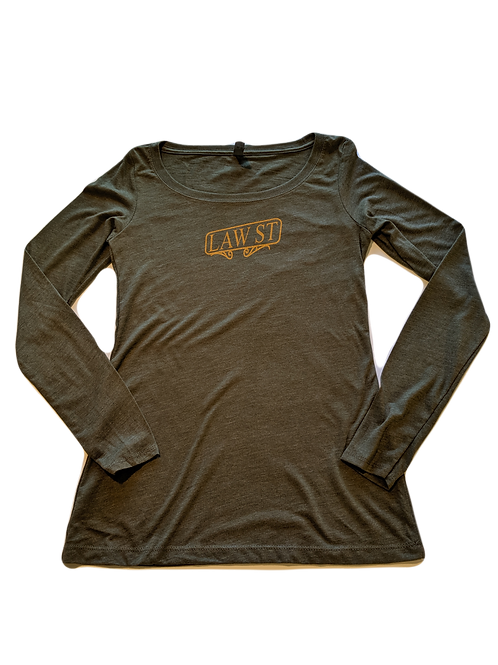 The Street Sign Collection: Women's Long Sleeve Scoopneck Tee Gold Logo