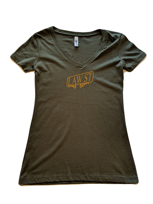 The Street Sign Collection: Women's Short Sleeve V-Neck Tee Gold Logo