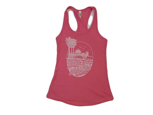 The Palisades Park Collection: Women's Racer Back Tank White Logo