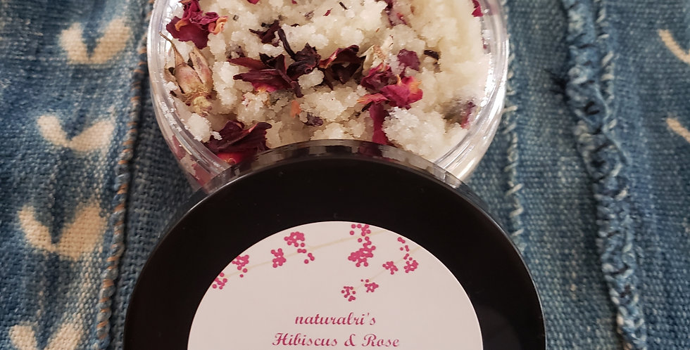 Hibiscus & Rose exfoliating sugar scrub