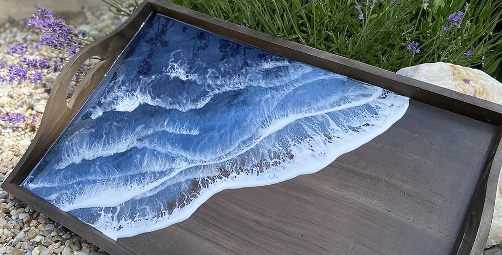Large dark wood rectangle tray