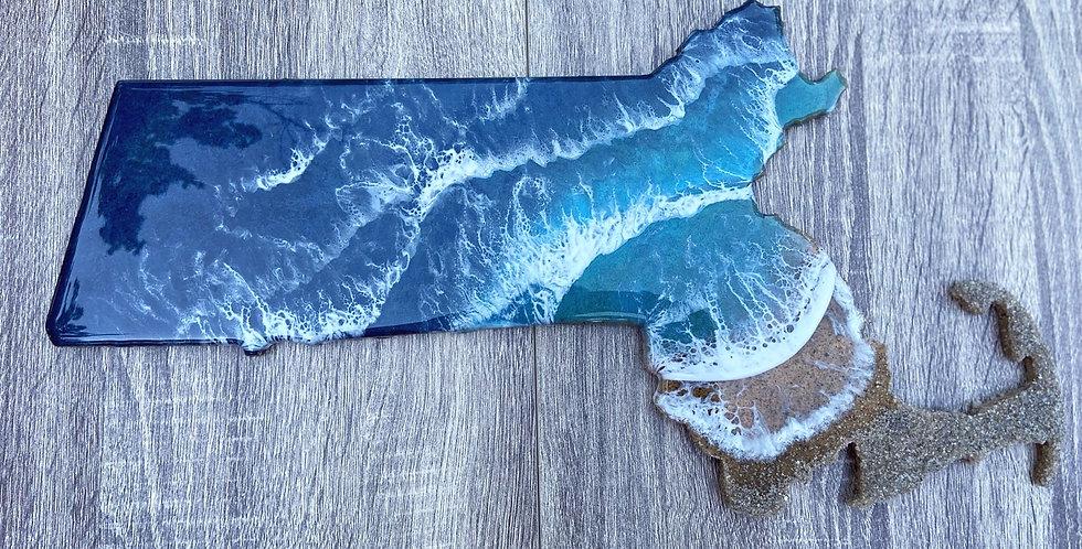 Massachusetts shape wall art