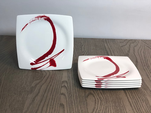 Paint It Red Square Salad Plate