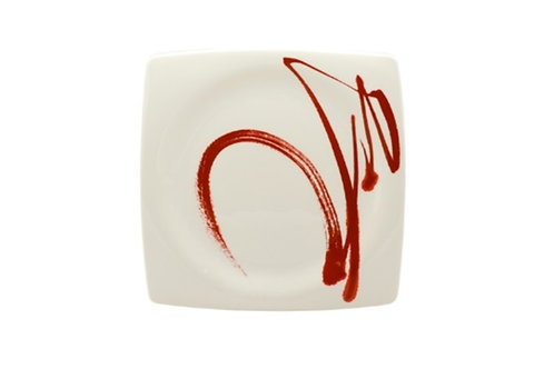 Paint It Red Square Dinner Plate