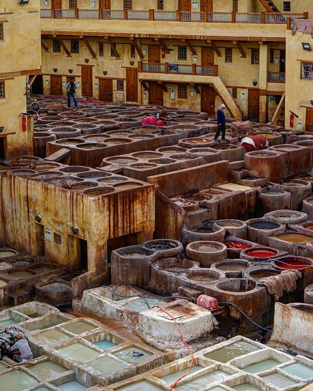 The #leather #tanning #pits in #fes #medina _ #morocco #africa -_#travel #traveling #travelgram #instatravel #wanderlust #backpacking #adven