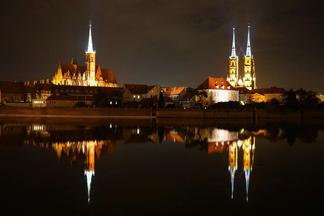 #reflection on the #river _ part of my #nighttime #series _ _ #wroclaw #Poland -_-_ #travel #traveling #travelgram #instatravel #wanderlust_