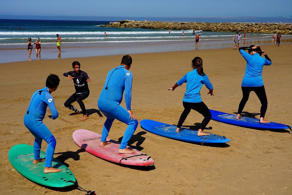 surf lesson at gota d agua