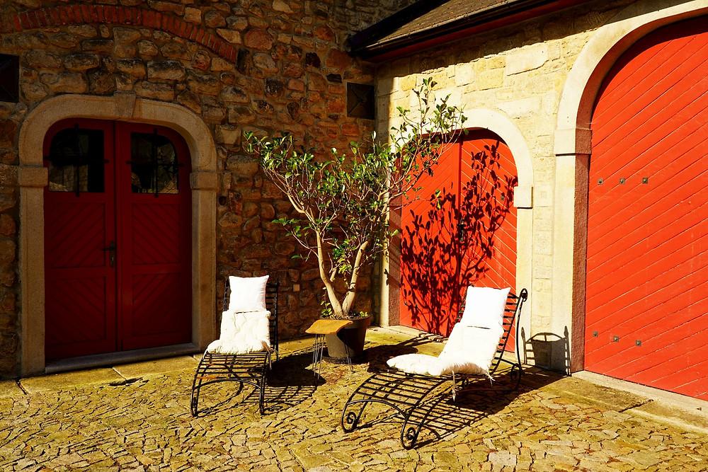courtyard sun loungers