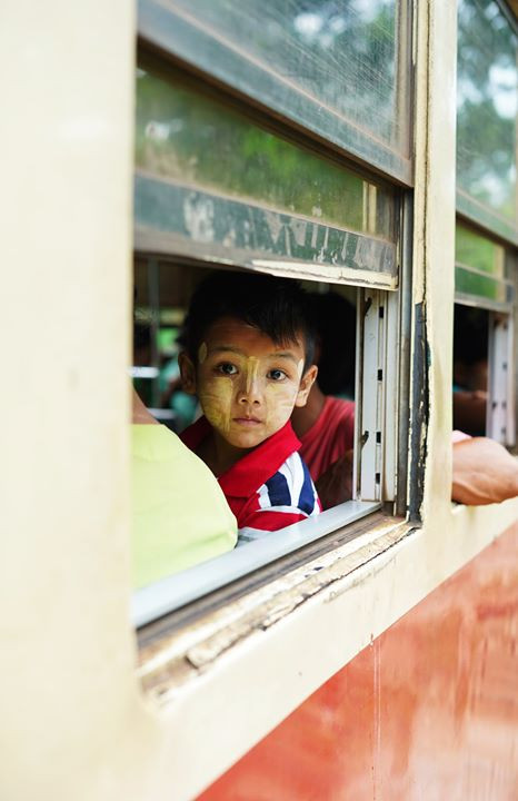 child on the circular train