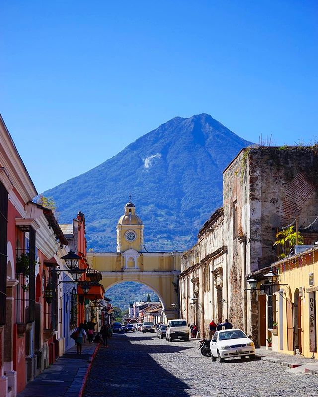What does your #street look like back #home _ _ this one is difficult to beat _ #antiguaguatemala #guatemala #volcano -_#travel #traveling #