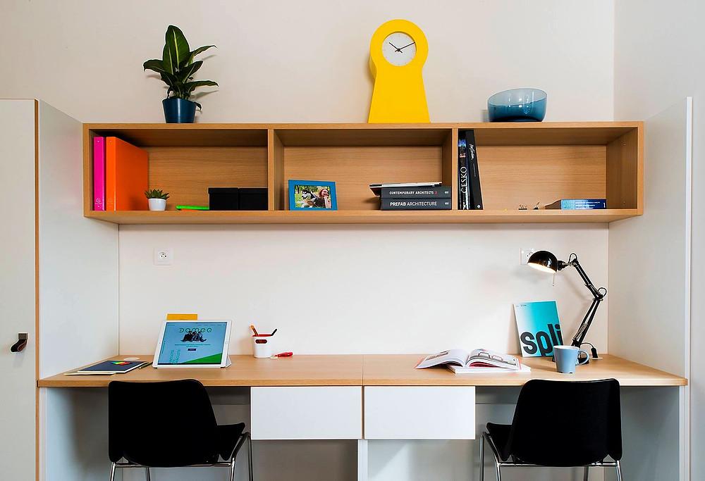 desks in a room