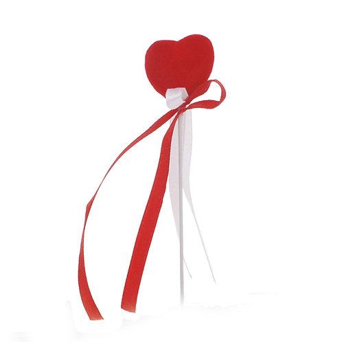 Pick Coração Aveludado Vermelho com Fita