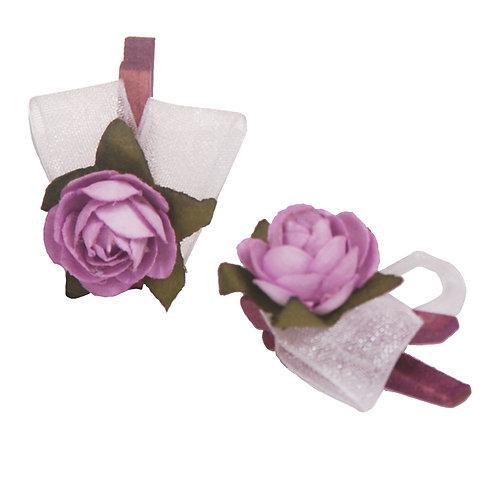 Pregador Floral Mini Rosa Lilás