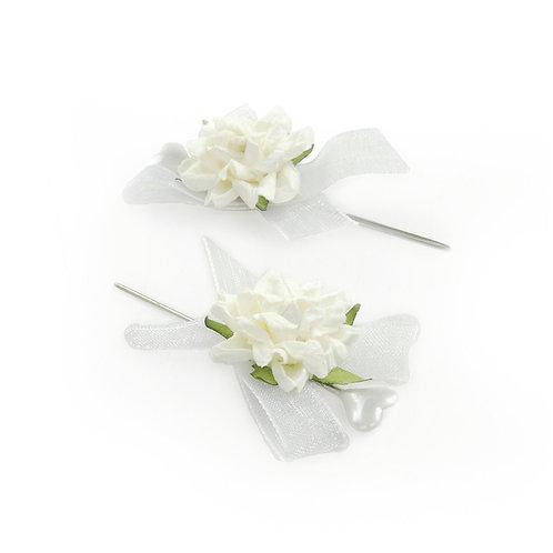 Alfinete Rosas Pequenas Branco