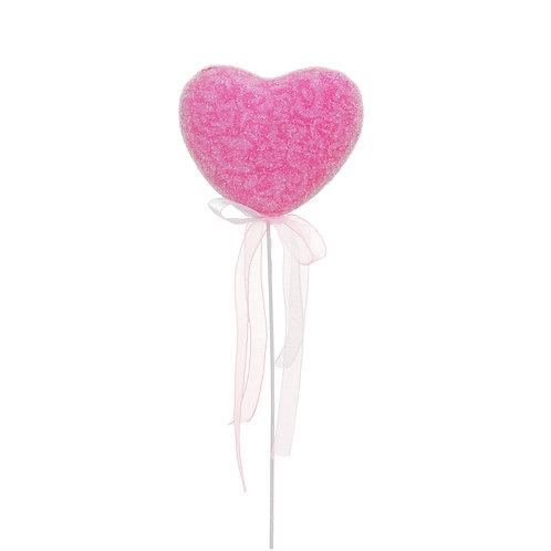 Pick Coração Decorado Arabescos Rosa