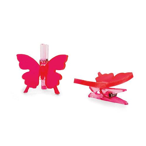Pregador Borboleta Acrílico Flower Pink