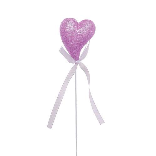 Pick Coração Crescente com Glitter Lilás
