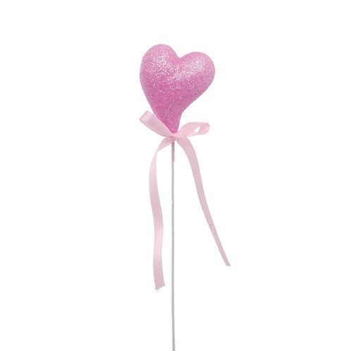 Pick Coração Crescente com Glitter Rosa