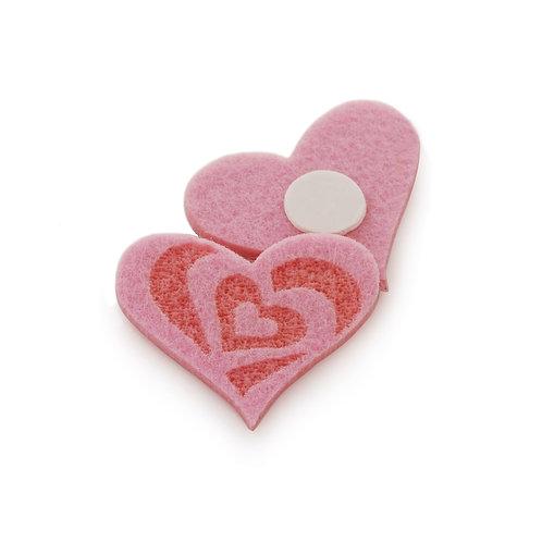Adesivo Coração Felt Rosa