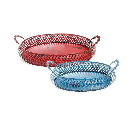Base Duo Oval Ninho Azul/Vermelho